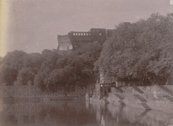 View from the lake looking up towards the Fort, with steps leading to lakeside in foreground, Barwa Sagar